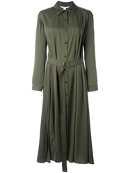 Diane Von Furstenberg Button Up Shirt Dress Green