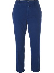 Closed Turn Up Hem Cropped Trousers Blue