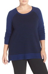 Plus Size Women's Sejour Wool And Cashmere Scoop Neck Sweater Blue Black Stripe