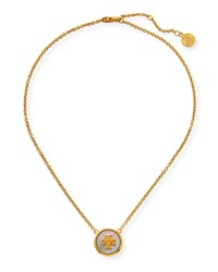 Tory Burch Semiprecious Pendant Necklace Mother Of Pearl