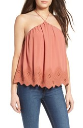 Astr Women's Lace Halter Tank Dusty Peach