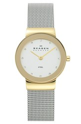 Skagen Women's 'Freja' Mirror Bezel Mesh Strap Watch 26Mm Gold Silver