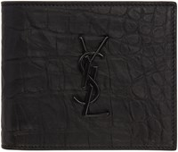 Saint Laurent Black Croc Embossed Monogram East West Wallet