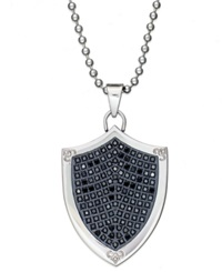 Macy's Men's Stainless Steel Necklace Black Diamond Shield Pendant 1 2 Ct. T.W.