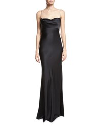 Diane Von Furstenberg Satin Cowl Neck Sleeveless Gown Black