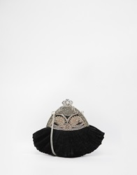 Moyna Pleated Silk Clutch With Hand Beading And Vintage Style Fastening Black
