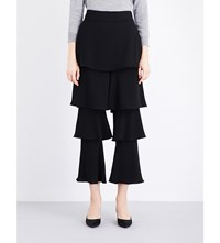 Osman Felix Flounce Satin Trousers Black