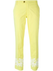 Tory Burch Ankles Detail Cropped Trousers Yellow And Orange