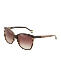 Carolina Herrera Plastic Logo Print Butterfly Sunglasses Beige Brown