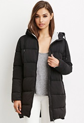Forever 21 Hooded Puffer Parka Black