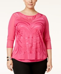 Inc International Concepts Plus Size Embroidered Mesh Top Only At Macy's Pink Lightening