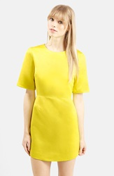 Topshop Satin A Line Dress Yellow