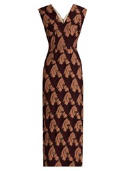 Emilia Wickstead Ferni Fil Coupe Sleeveless Dress Burgundy