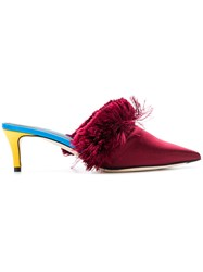 Marco De Vincenzo Fluffy Fringe Mules Red
