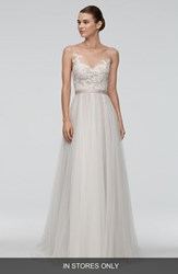 Women's Watters 'Azriel' Illusion Neckline Lace And Net A Line Gown In Stores Only