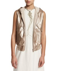 Brunello Cucinelli Metallic Leather Hooded Utility Vest Rose Gold