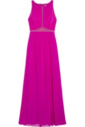 Badgley Mischka Tulle Trimmed Pleated Silk Georgette Gown Fuchsia
