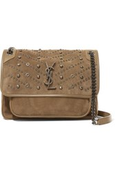 Saint Laurent Niki Embellished Suede Shoulder Bag Beige