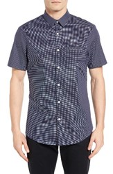 Calibrate Men's Trim Fit Non Iron Cross Print Sport Shirt