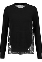 Rebecca Minkoff Vail Printed Chiffon And Wool And Cashmere Blend Sweater Black