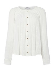 Suncoo Long Sleeves Embroidered Blouse Off White