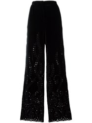Alberta Ferretti Broderie Anglaise Trousers Black