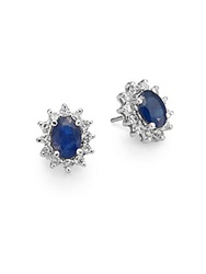 Effy Final Call Sapphire Diamond And 14K White Gold Sunburst Stud Earrings Blue