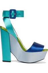 Roger Vivier Woman Color Block Satin Platform Sandals Multicolor