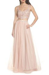 Sequin Hearts Beaded Lace Two Piece Gown Mauve