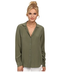 Equipment Adalyn V Neck Button Up Solid Army Jacket Women's Long Sleeve Button Up Green