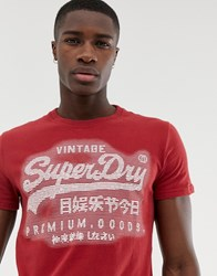 Superdry Embossed Logo T Shirt In Red