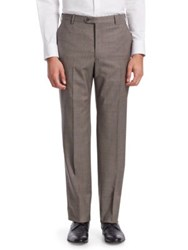 Emporio Armani Classic Wool Dress Pants Coffee