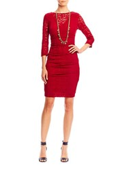 Nicole Miller New York Three Quarter Sleeve Lace Dress Crimson Red