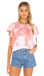 Michael Stars Ariana Flutter Sleeve Pullover In Coral. Melon Combo