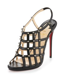 Christian Louboutin Guinievre Caged Leather Red Sole Sandal Black Gunmetal Girl's Size 39.5B 9.5B Black Dk Gun