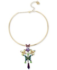 Betsey Johnson Two Tone Stone And Crystal Butterfly Wire Pendant Necklace Multi