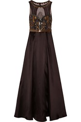 Badgley Mischka Embellished Satin And Tulle Gown Brown
