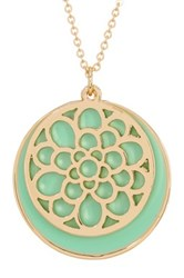 14Th And Union Filagree Disc Overlay Pendant Necklace Green