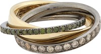 Roberto Marroni Mixed Diamond Yellow Gold And Oxidized White Gold Tripl Colorless