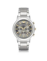 Emporio Armani Stainless Steel Men's Chronograph Watch W Gray Dial Silver