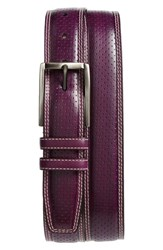 Mezlan Alfa Perforated Leather Belt Purple