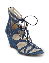 Kenneth Cole Dylan Leather Lace Up Wedge Sandals Blue