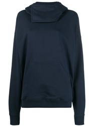 J.W.Anderson Jw Anderson Fold Over Neck Hoodie Blue