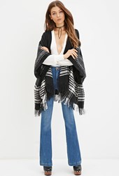 Forever 21 Hooded Plaid Poncho Black Cream