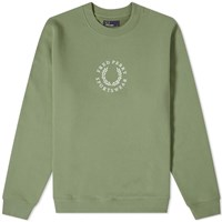 Fred Perry Embroidered Logo Sweat Green