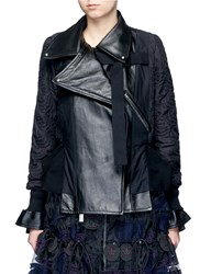 Sacai Leather Panel Calligraphy Quilted Jacket Black