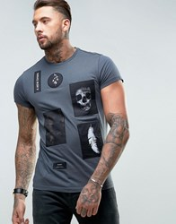 Religion T Shirt With Patches Grey