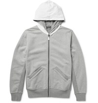Berluti Leather Trimmed Loopback Cotton Jersey Zip Up Hoodie Gray