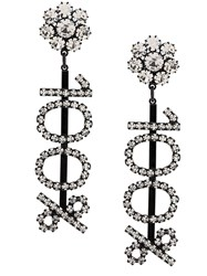 Ashley Williams 100 Text Embellished Earrings Black