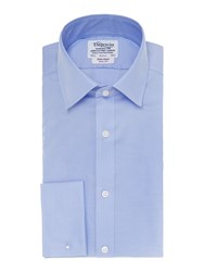 T.M.Lewin Men's Tm Lewin Non Iron Slim Fit Shirt Blue